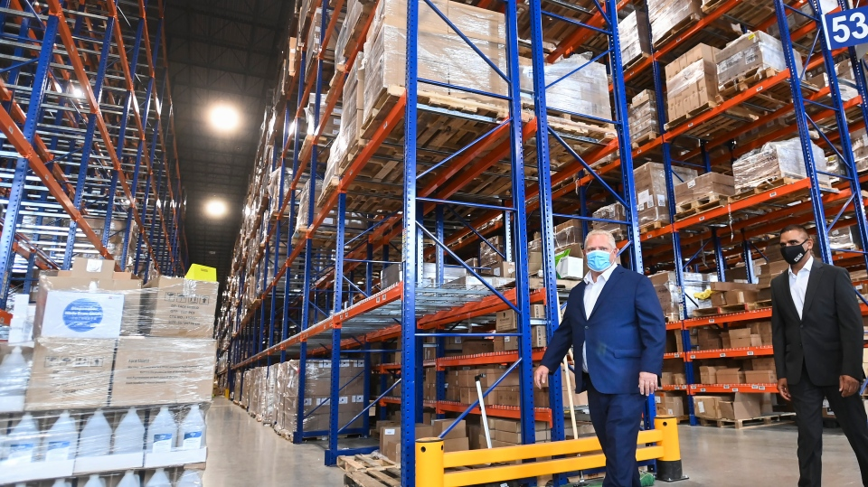 Doug Ford tours warehouse