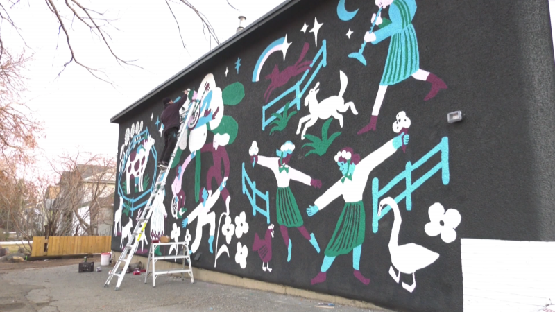 The mural at Kind Ice Cream's Highlands location at 65 Street and 112 Avenue borrowed inspiration from Russian fairy tales and Ukrainian folk art. It was designed by Tallulah Fontaine, an Edmonton ex-pat now living in Los Angeles.