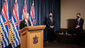 Provincial Health Officer Dr. Bonnie Henry, Premier John Horgan and Health Minister Adrian Dix provide an update on COVID-19 on April 19, 2021. (Province of BC/Flickr)