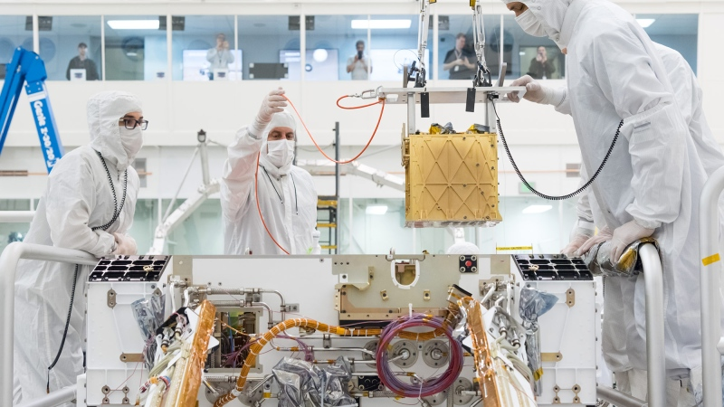 The Perseverance rover on April 20 successfully converted some of the plentiful carbon dioxide on Mars into oxygen as a first test of its MOXIE instrument. (R. Lannom/JPL-Caltech/NASA/CNN)