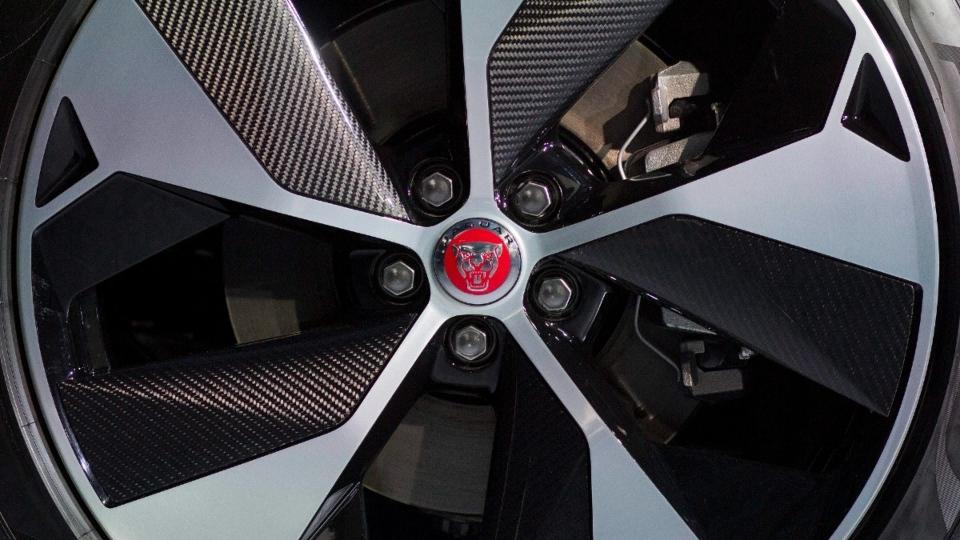 The wheel of a Jaguar I-Pace vehicle