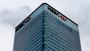 The HSBC bank headquarters building is seen in London, on Feb. 9, 2016. (Frank Augstein / AP)