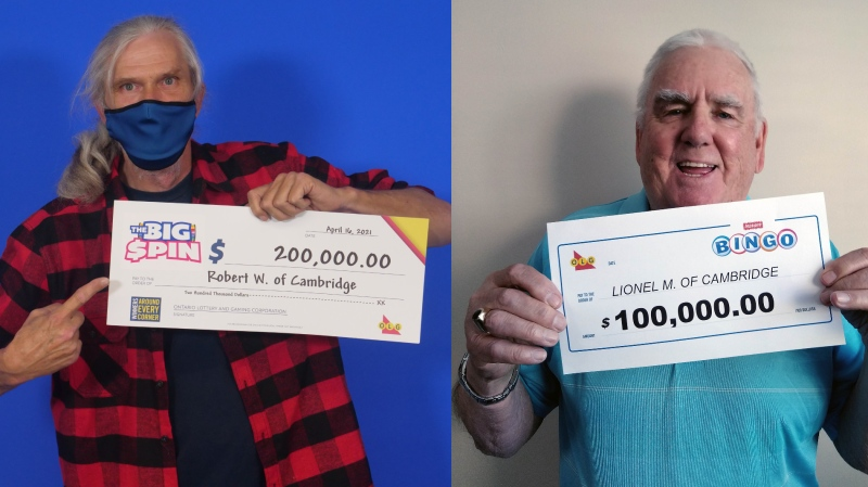 Robert Welch (left) and Lionel Mayo, both of Cambridge, with their lottery winnings. (Photos: OLG) (Apr. 22, 2021)