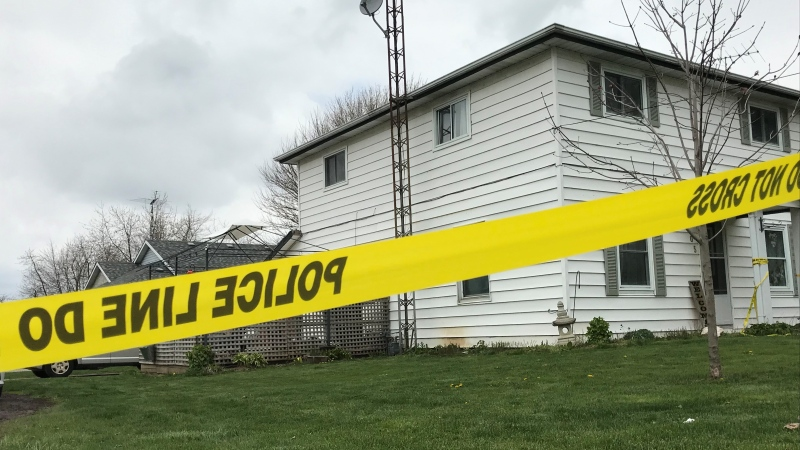 Police have sealed off a home at 105 Church St. in Blenheim Ont., on Thursday, April 22, 2021. (Michelle Maluske / CTV Windsor)