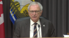 New Brunswick premier Blaine Higgs provides an update on COVID-19 at a news conference in Fredericton on Thursday, April 22, 2021.
