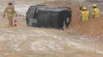 An SUV flipped on Deerfoot Trail near the Country Hills Blvd. overpass Thursday morning.