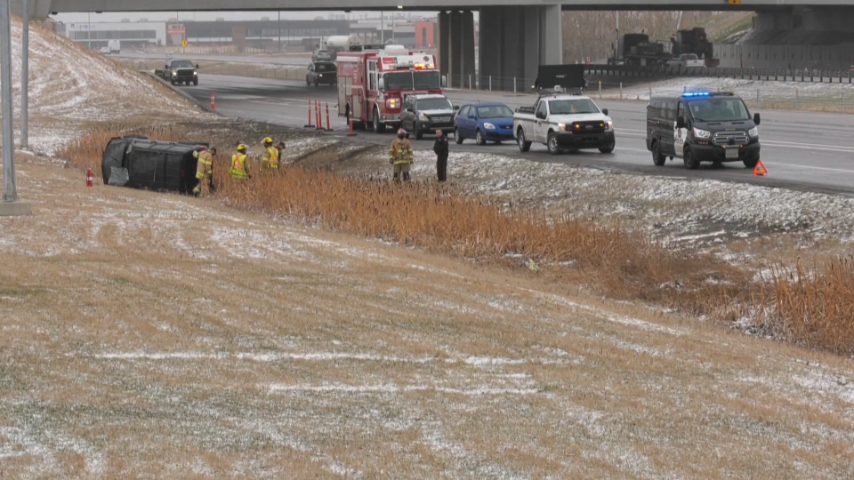Deerfoot Trail SUV flip crash