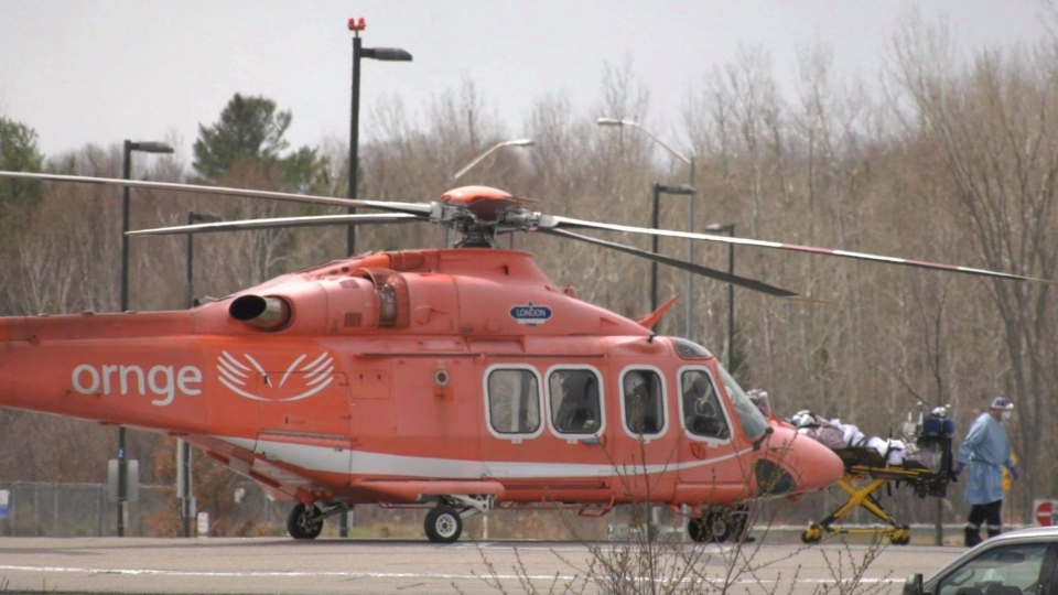 First critical COVID-19 patient from southern Ontario airlifted to North Bay hospital. April 22/21 (Alana Pickrell/CTV Northern Ontario)