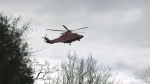 Ornge air ambulance en route to North Bay Regional Health Care Centre. April 22/21 (Alana Pickrell/CTV Northern Ontario)