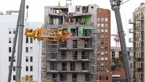 The final pieces of a crane, shown in a handout photo, that collapsed onto a building in Halifax last month, during post-tropical storm Dorian, have been removed. A government release says the pieces that were lying on the top storey of the Olympus building were removed Saturday, Oct.26, 2019. THE CANADIAN PRESS/Nova Scotia Government