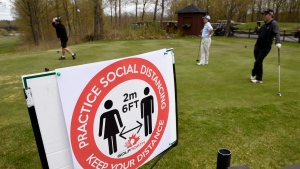 FILE - Golfers practice physical distancing as they tee off at the Loch March Golf & Country Club in Ottawa on Saturday, May 16, 2020. THE CANADIAN PRESS/Justin Tang