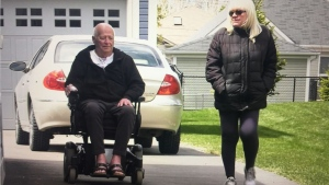 Paul Corrigan, 70, uses his new wheelchair to enjoy the outdoors in Wasaga Beach, Ont. in April 2021 (Supplied)