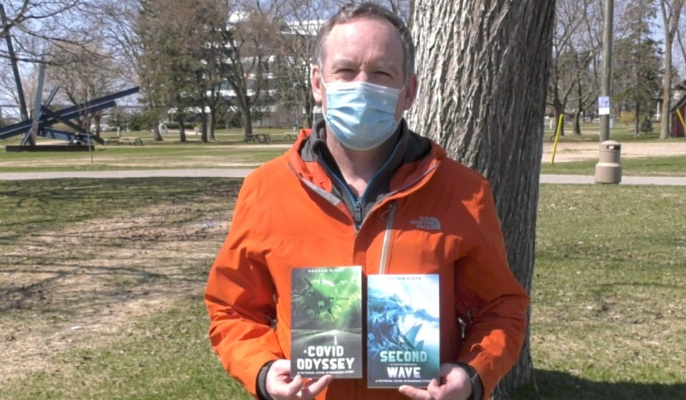 Dr. Graham Elder said he got the idea for his book, 'A COVID Odyssey,' while his wife was travelling at the start of the pandemic. He didn't know what would happen in the event she became stuck overseas. (Mike McDonald/CTV News)