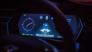 Tesla CEO Elon Musk says data recovered show Autopilot was not enabled, when two people died in a crash in Spring, Texas. Pictured an instrument panel in New York, on Sept. 20, 2016. (Christopher Goodney/Bloomberg/Getty Images/CNN)