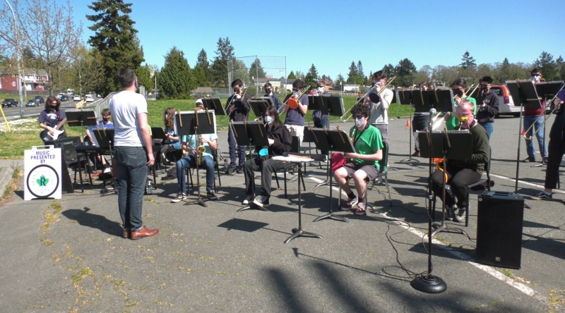 Reynolds Secondary School students took their music to the streets on Thursday to show their opposition to proposed cuts to middle school music programs in the Greater Victoria School District. (CTV)