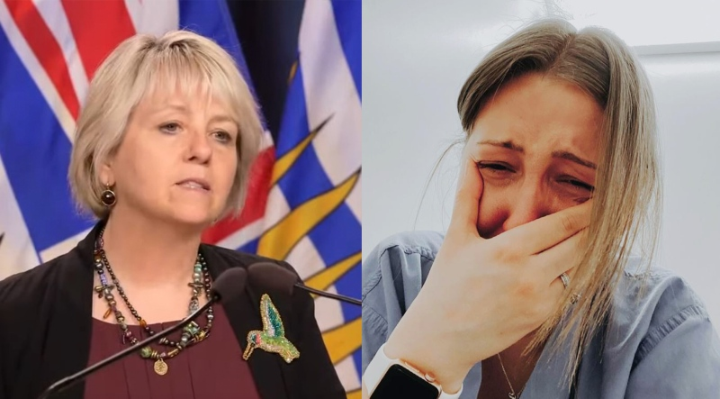 Provincial health office Dr. Bonnie Henry, left, asks British Columbians to follow COVID-19 restrictions to support exhausted health-care workers on Thursday, April 22, 2021. Nurse Kendall Skuta is seen in an Instagram post she shared days earlier after losing a patient to the disease. (Composite image)