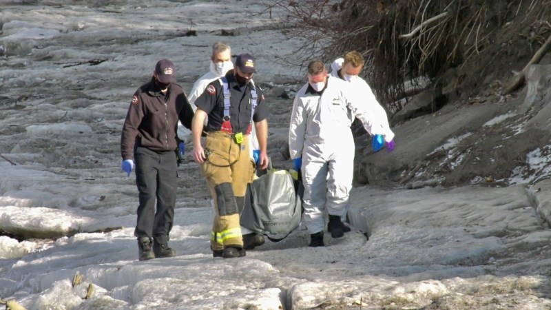 Thursday evening firefighters recovered a human body from the North Saskatchewan River near Terwillegar Park (CTV News Edmonton/Sean Amato).