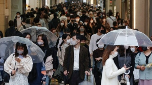 In Osaka, western Japan, on April 5, 2021. (Kyodo News via AP)