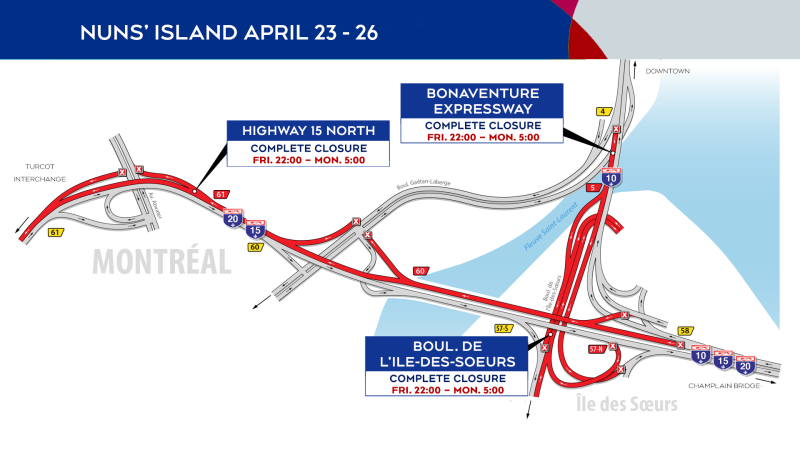 Nuns' Island road closures from April 23-26, 2021. SOURCE: Mobility Montreal