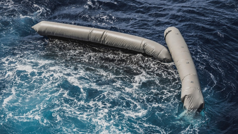 Debris from a dinghy which was supposedly carrying over 100 migrants are seen floating in the Mediterranean Sea northeast of the Libyan capital, Tripoli, on April 22, 2021. (Flavio Gasperini/SOS Mediterranee via AP)