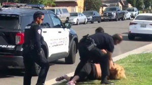 Officer punches handcuffed woman in Calif.
