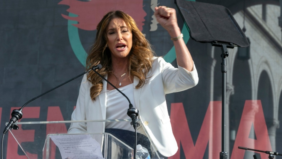 Caitlyn Jenner speaks at a march in Los Angeles