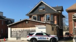 Scene of North Bay's fourth suspicious fire this week. April 23/21 (Alana Pickrell/CTV Northern Ontario)
