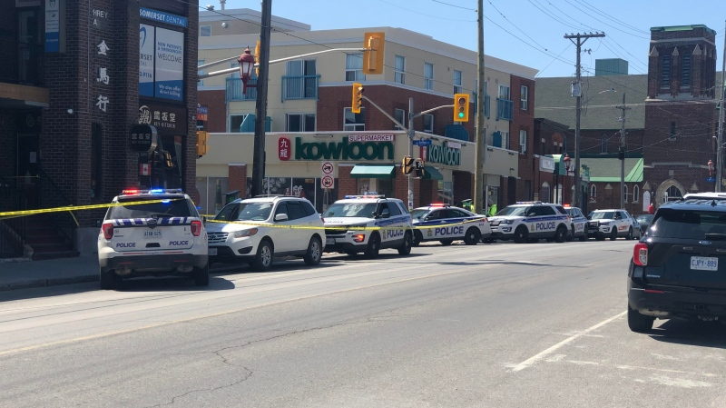 Ottawa police investigate a stabbing death at Somerset and Arthur streets in Chinatown on Friday. (Rob Marchand/CTV News Ottawa)
