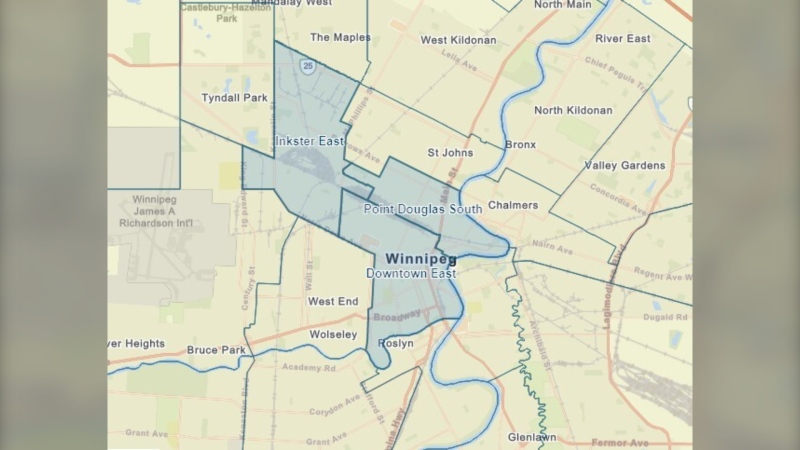 A map showing the priority neighbourhoods in Winnipeg (highlighted in blue, where people who live or work over the age of 18 can book a COVID-19 vaccine, (Image source: Manitoba government)