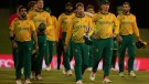 South Africa's captain Heinrich Klaasen, middle, with teammate leave the field at the end of the fourth and final T20 cricket match between South Africa and Pakistan at Centurion Park in Pretoria, South Africa, Friday, April 16, 2021. (.AP Photo/Themba Hadebe)