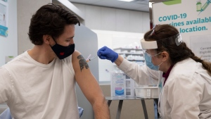 Prime Minister Justin Trudeau receives his COVID-19 AstraZeneca vaccination in Ottawa on Friday, April 23, 2021. THE CANADIAN PRESS/Adrian Wyld