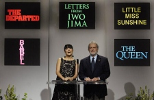 Academy of Motion Picture Arts and Sciences President Sid Ganis and actress Salma Hayek announce the nominees for best picture for the 79th annual Academy Awards in Beverly Hills Tuesday morning. (AP / Chris Pizzello)