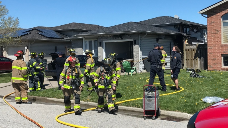 Windsor fire crews responded to a residential fire in the 1500 block of Kamloops Street in Windsor, Ont. on Sunday, April 25, 2021. (Michelle Maluske/CTV Windsor)