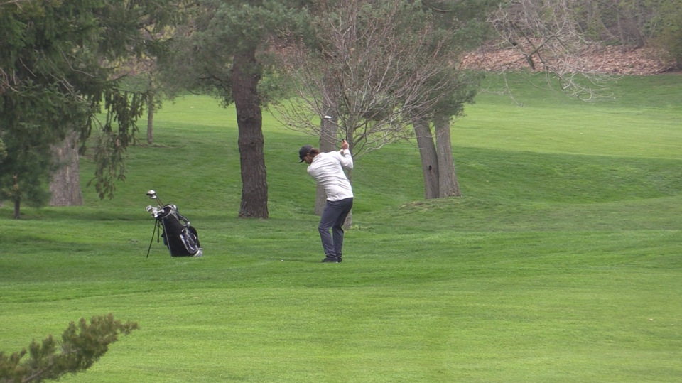 Golfer at the Bridges golf course in Tillsonburg, Ont. on April 25, 2021. (Brent Lale/CTV London)