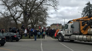 Hundreds gathered in Stratford on Sunday afternoon for an anti-lockdown rally.