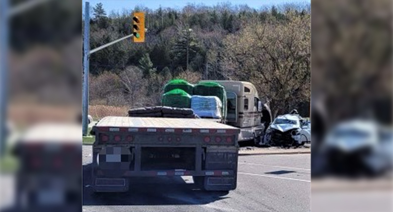 Tractor-trailer crash involving an alleged impaired truck driver in the Township of Georgian Bluffs, Ont. on April 23, 2021. (OPP)