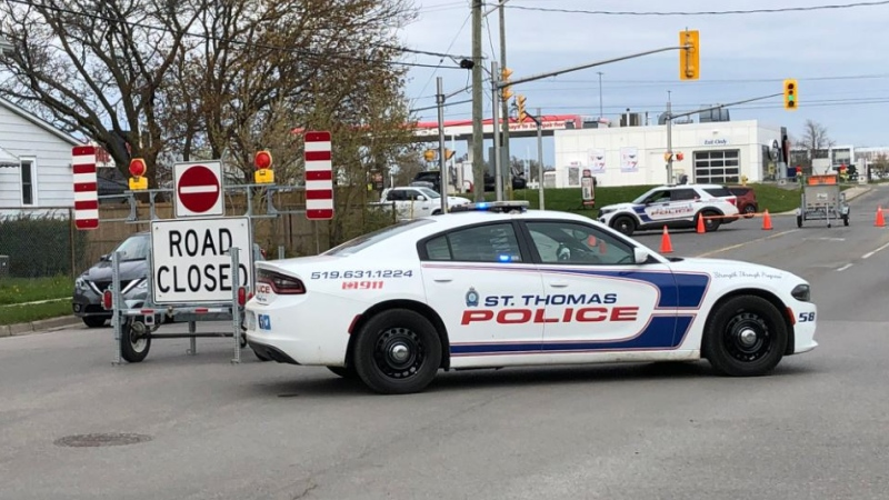 St. Thomas police close off the intersection of First Avenue and Redan Street on April 26, 2021 for a serious collision. (Jim Knight/CTV London)