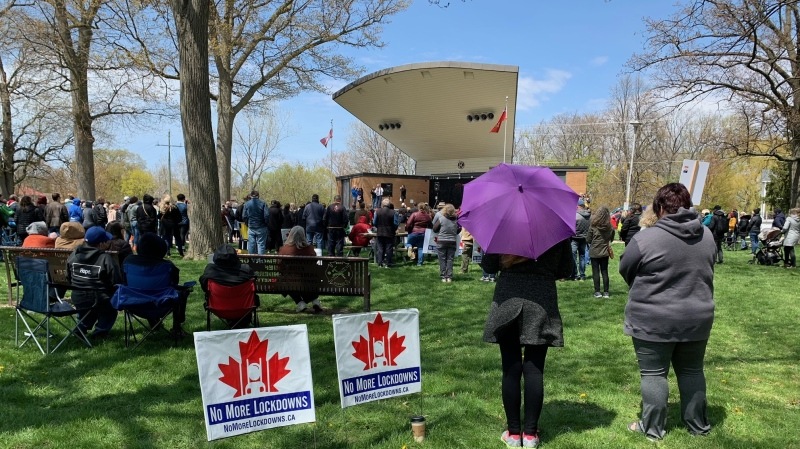 About 300 people attended a rally protesting current provincial lockdown measures in Chatham, Ont. on Monday, April 26, 2021. (Chris Campbell/CTV Windsor)
