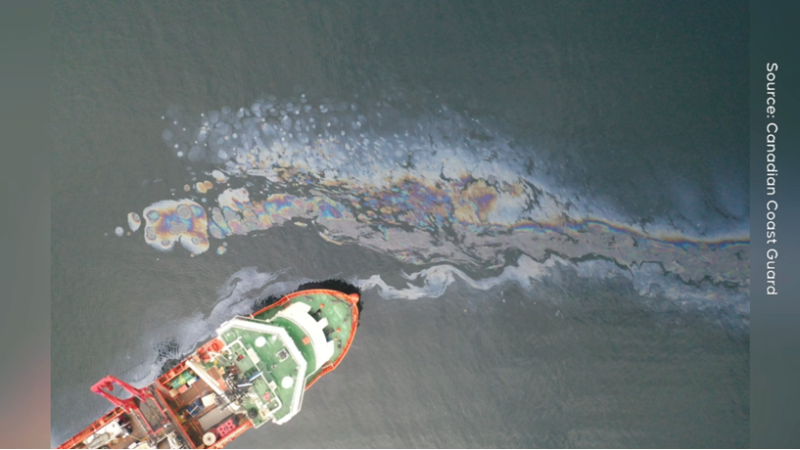 A salvage vessel is pictured over the wreck of the MV Schiedyk. (Canadian Coast Guard.)