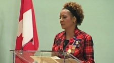 Gov. Gen. Michaelle Jean presides over the inaugural presentation of the Sacrifice Medal in Ottawa on Monday, Nov. 9, 2009.