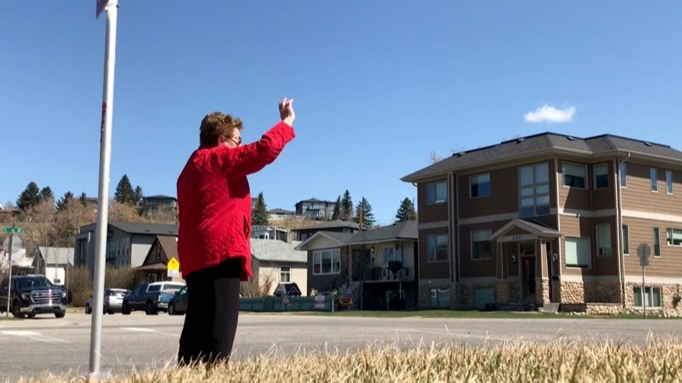 Helen Jusic Calgary waving Bridgeland