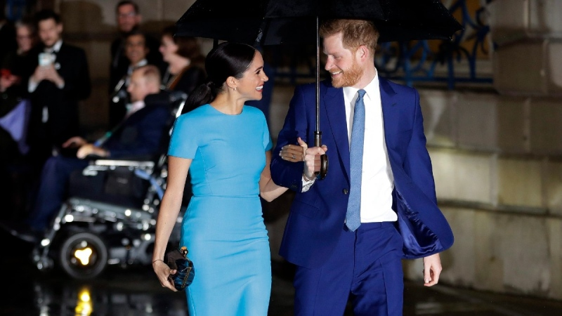 Prince Harry and Meghan arrive at the annual Endeavour Fund Awards in London, on March 5, 2020. (Kirsty Wigglesworth / AP)