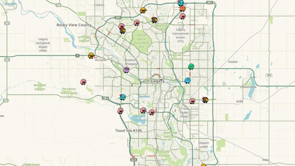 Calgary Waze map