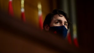 Prime Minister Justin Trudeau holds a press conference in Ottawa on Tuesday, April 27, 2021, during the COVID-19 pandemic. THE CANADIAN PRESS/Sean Kilpatrick