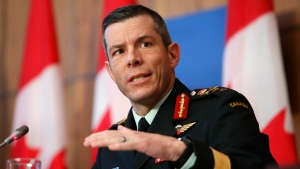 Major General Dany Fortin, Vice President Logistics and Operations at the Public Health Agency of Canada, speaks during a COVID-19 press conference at the Sir John A. Macdonald Building in Ottawa on Wednesday, Dec. 23, 2020. THE CANADIAN PRESS/David Kawai