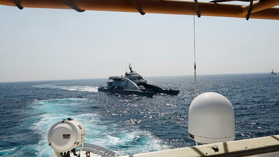 Iranian vessel cuts in front of U.S. Coast Guard