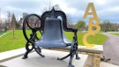 The Bell from the original building of Lorne Avenue P.S. now has a home at the Lorne Avenue Park. (CTV London)
