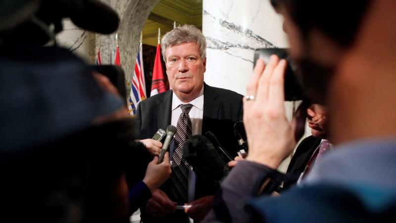 Then-minister of natural gas development Rich Coleman speaks to media during a news conference in the Legislative Library on Wednesday, Feb. 15, 2017 in Victoria. (Chad Hipolito / THE CANADIAN PRESS)