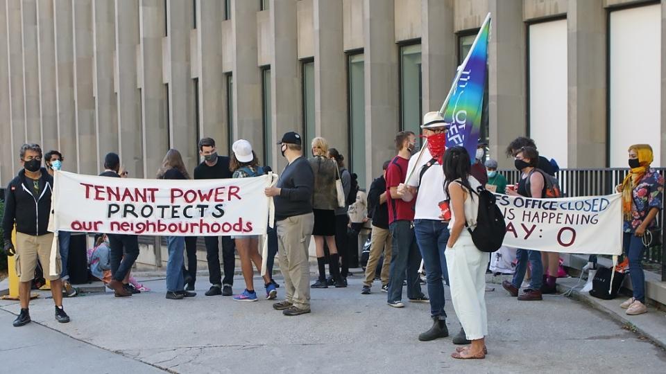 Eviction protesters,THE CANADIAN PRESS/Jake Kivanc