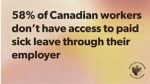 Stat from the North Bay Labour Council on Canadian workers without paid sick leave
